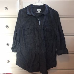 Classic dark denim chambray button down NWT